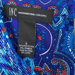 INC International Concepts Dresses - INC Blue Paisley Print Sleeveless Dress Beaded